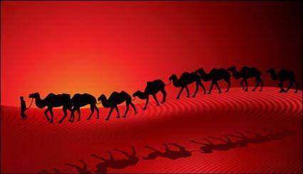 free vector Camel Desert Caravan Sunset Silhouette Red Background Vector