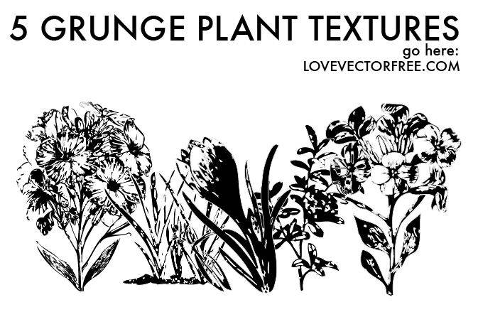 free vector 5 Grunge Plant Textures by LVF
