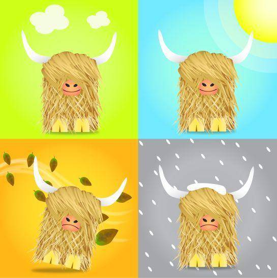 free vector Scotland in one day! Seasonal Highland Cow Vectors