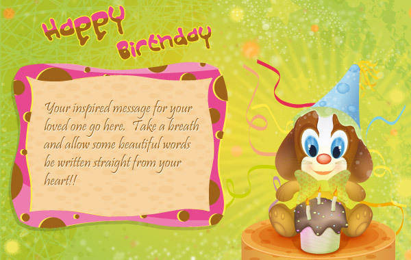 free vector Little Dog Happy Birthday Postcard