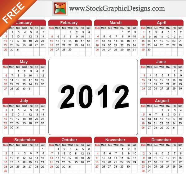 Free Vector Illustration of 2012 Calendar