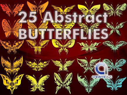 25 Abstract Butterflies Vectors
