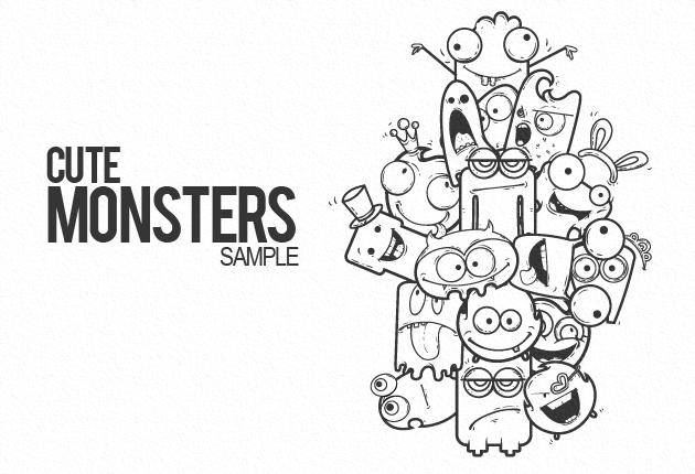 free vector Cute Vector Monsters Free Sample