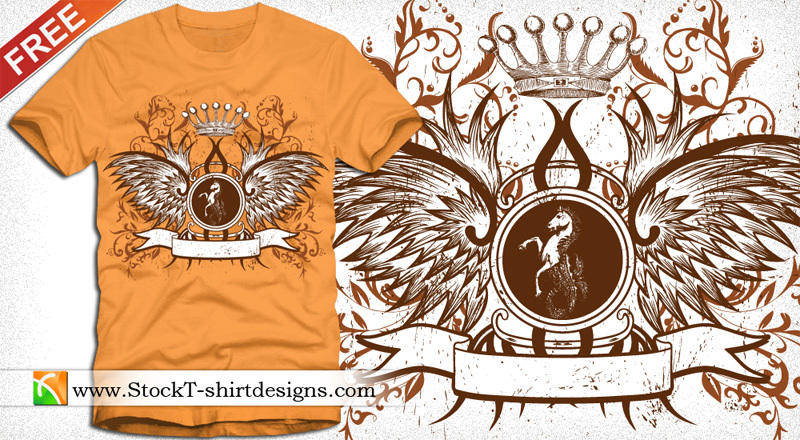 free vector Winged Shield with Crown and Floral Free T-shirt Design