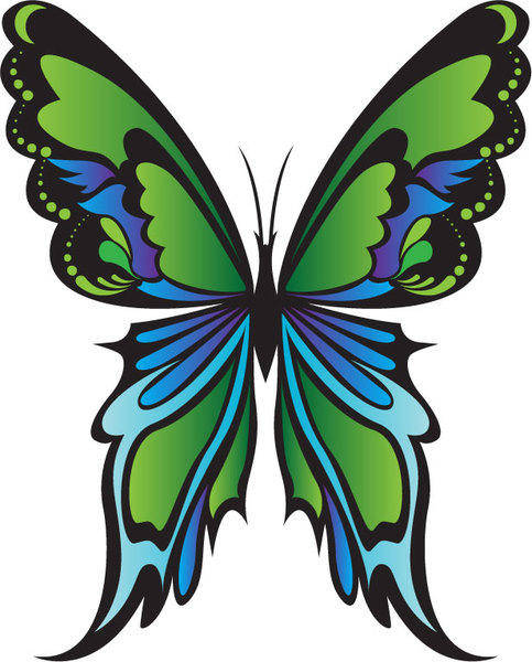 free vector Green Butterfly Vector