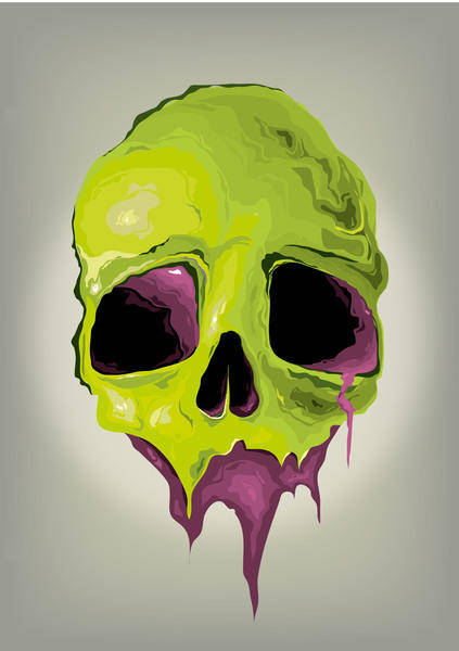 free vector Liquid Skull Vector