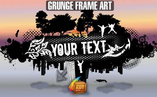 free vector Grunge City and Nature Frame