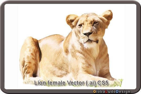 free vector 1. Female Lion Vector