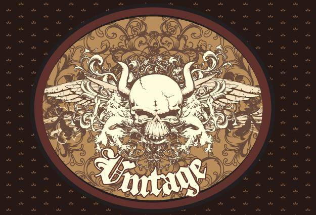Free Vector Vintage Emblem with Skull