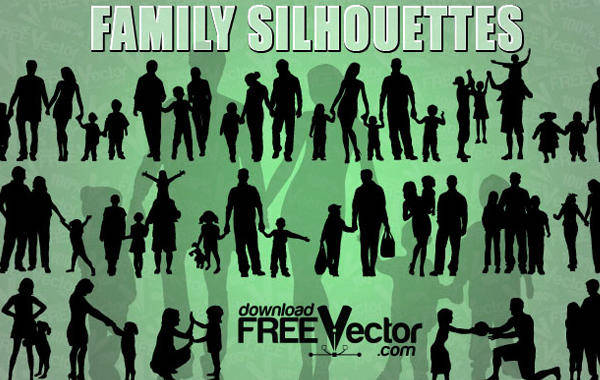free vector Free Vector of Family Silhouettes