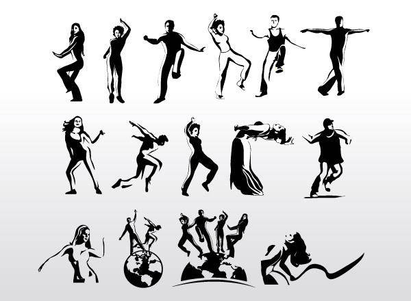 free vector Aerobic Art Dancer Vector Silhouettes