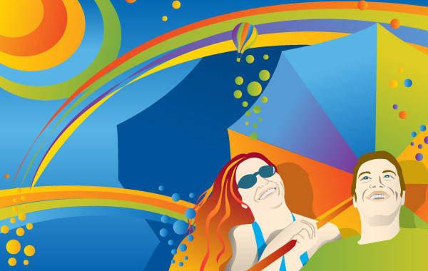 free vector Colors Under the Sun Umbrella