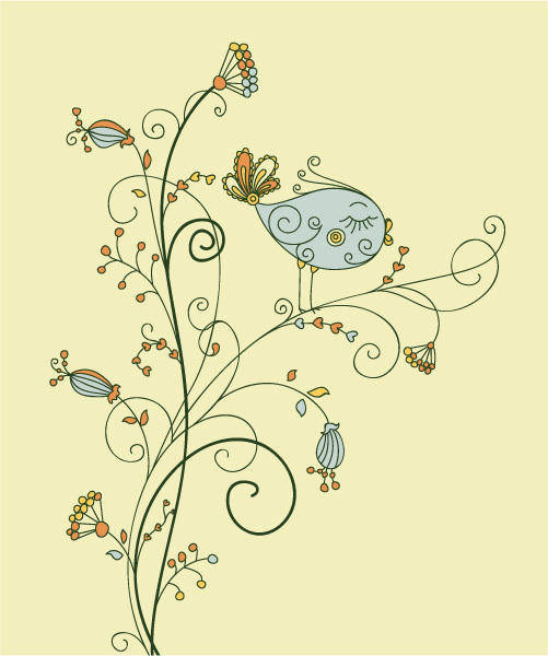 free vector Leaf vector bird on floral