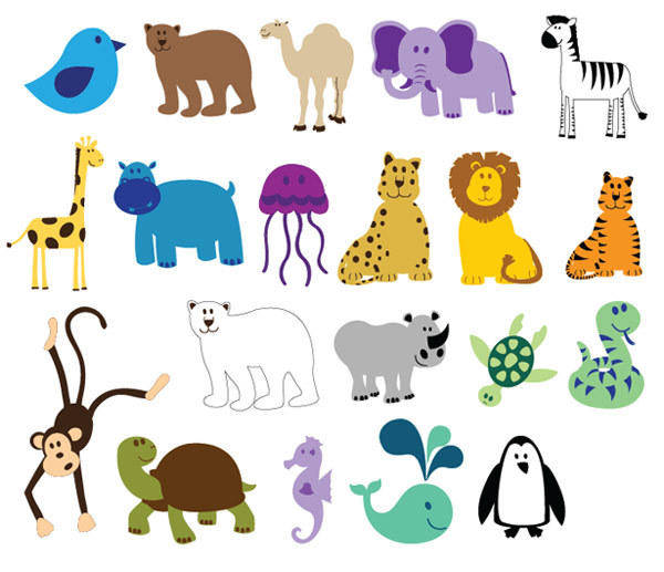free vector Free Colorful Animals