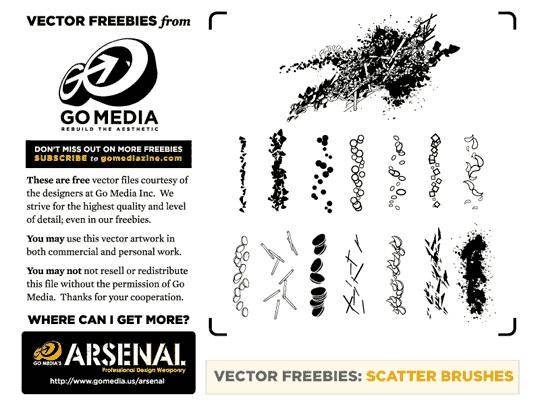 free vector 14 Free Scatter Brushes