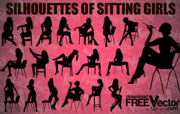 Sitting Girl Vector Pack