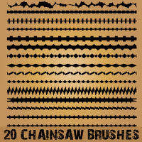 free vector 10 Chainsaw Line Brushes for Illustrator
