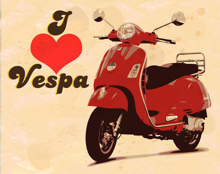 free vector I love vespa