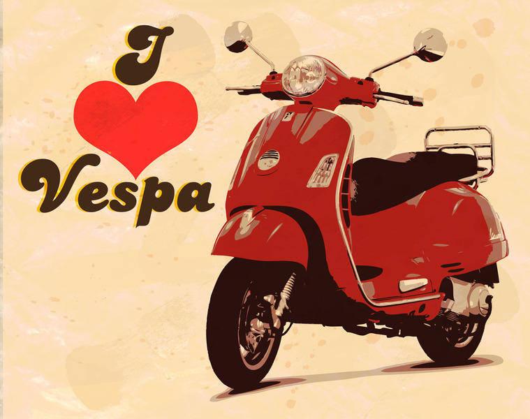 free vector I love vespa
