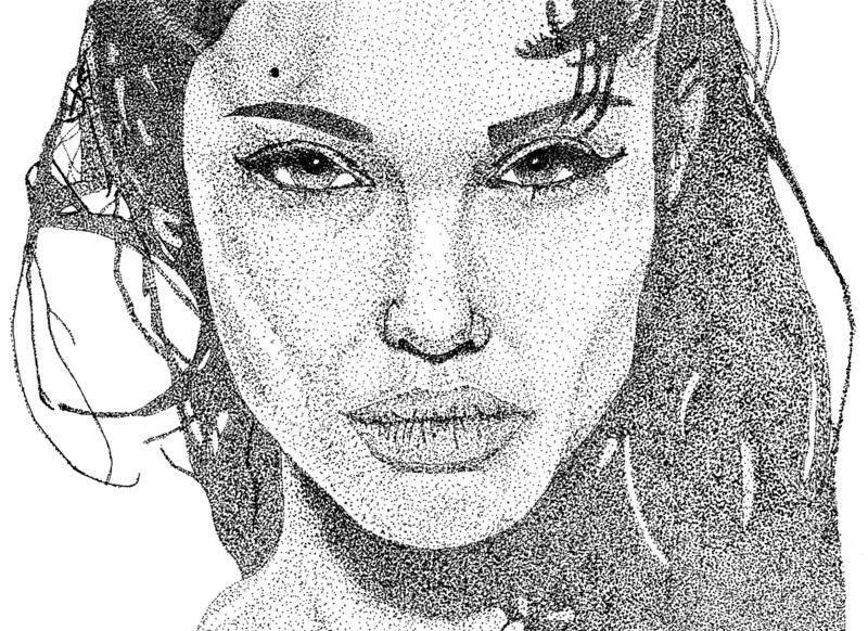 Angelina Jolie Stipple Art Vector