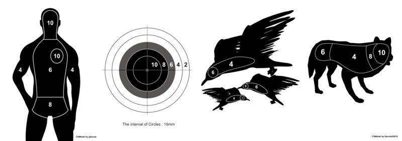 free vector The Set of Target Vectors - human, circle, birds and wolf