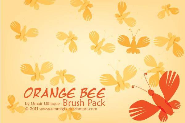 free vector Orange Bee Brush