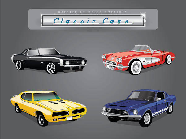 free vector Car Vector Pack of Classic American Cars