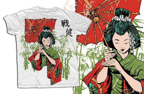 free vector Japanese Geisha Vector T-Shirt Template