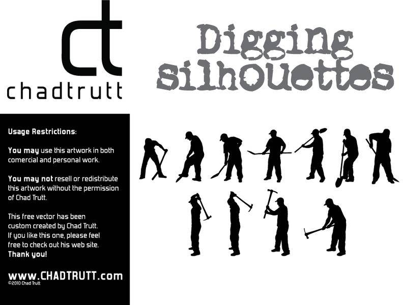free vector Digging Silhouette