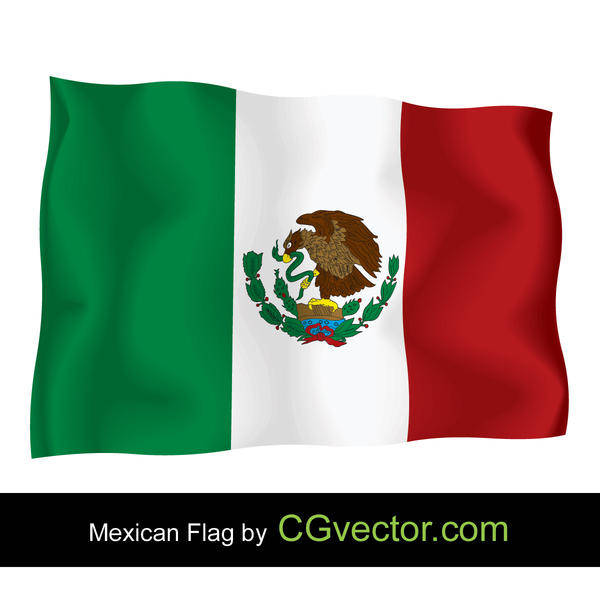 free vector Mexico Independence Day flying Flag Vector
