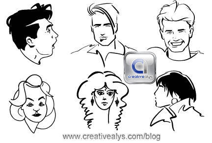 free vector Line Art Faces
