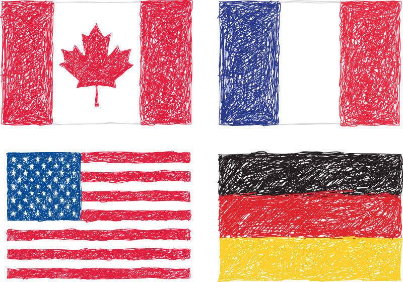 Scribble Flags Vector