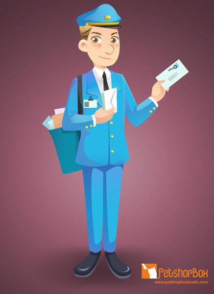 free vector Free Mailman vector character