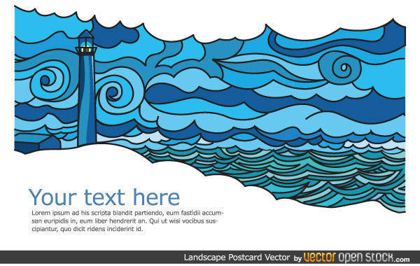 Seascape Vector Postcard