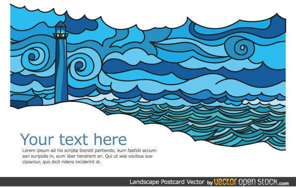 free vector Seascape Vector Postcard