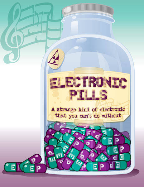 free vector Electronic pills bottle