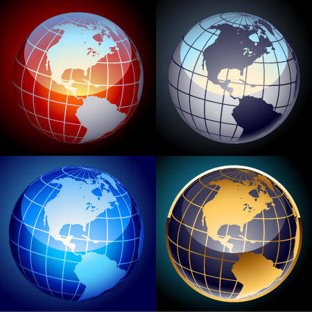 Free set of vector globes