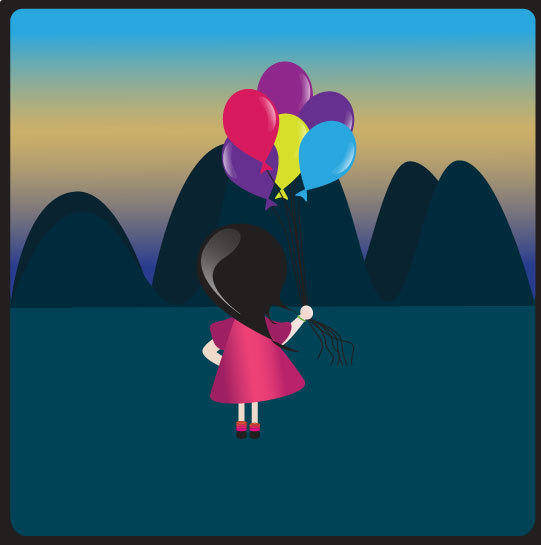 free vector A girl with balloons
