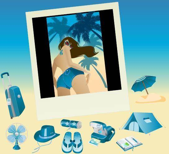 free vector Blue Vector Summer Vista Icons