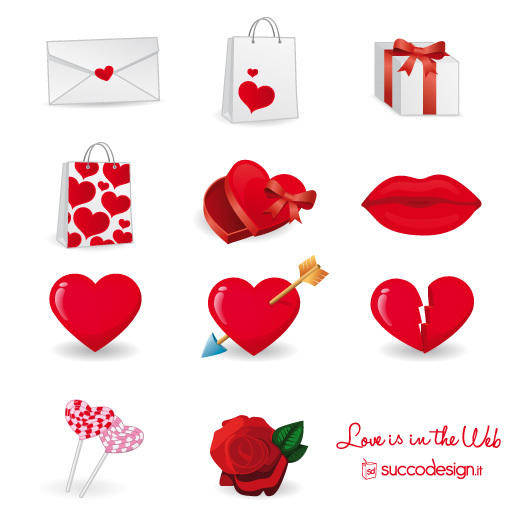 Free Vector Icon Set for Valentineâ??s Day