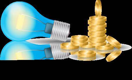 Business Idea - Light Bulb and Gold Coin Vectors