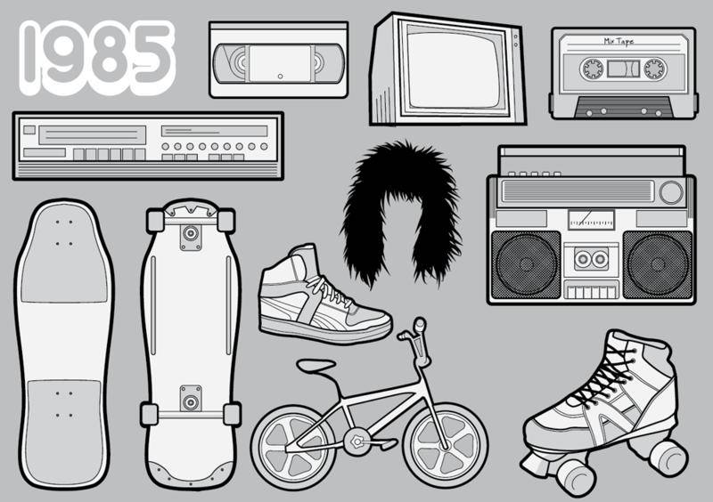 free vector 1985 â?? A Free Vector Pack of 80s Icons