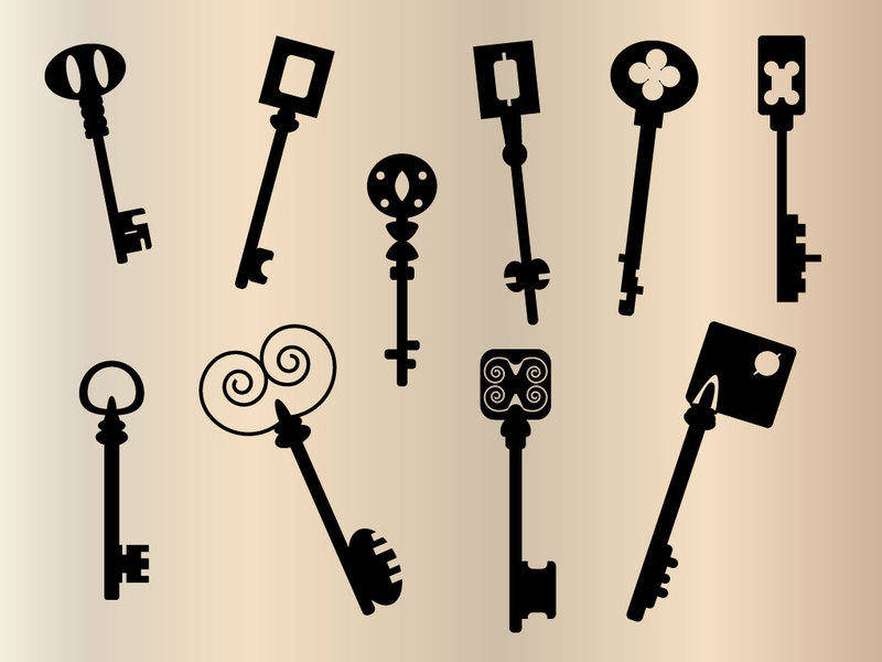 free vector Old keys silhouette