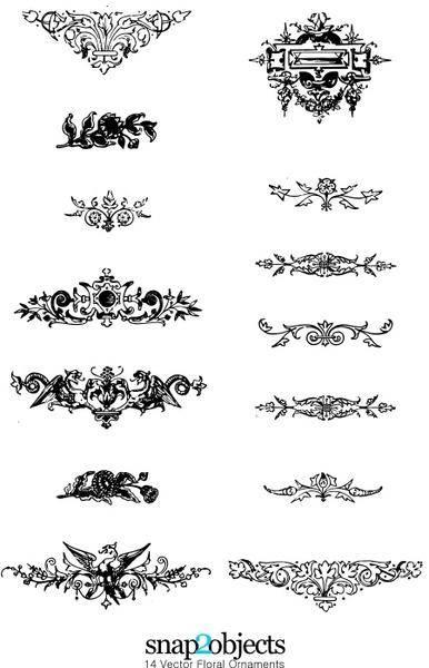 14 Vector Floral Ornaments