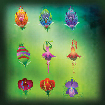 free vector Vector Flower Icons