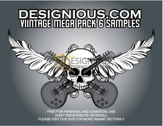free vector Vector skull, foliage and guitars
