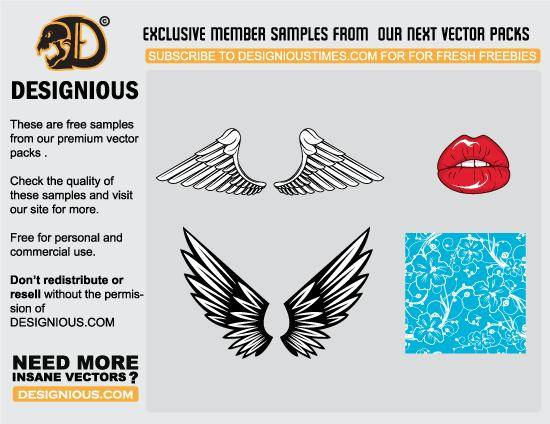 Wings, lips and pattern vector samples