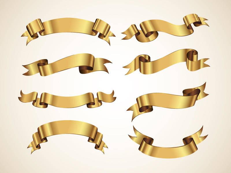 free vector Golden Decorative Vector Ribbons Set