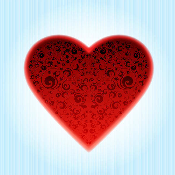 Abstract Ornamented Heart Vector