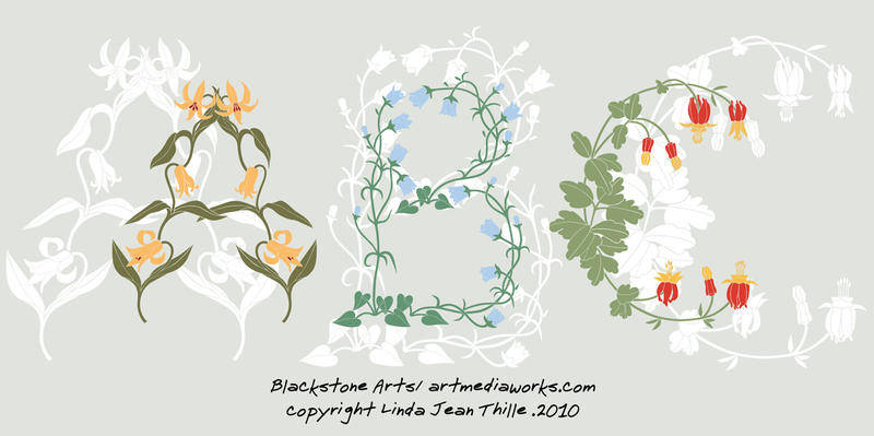 free vector Flowers ABC